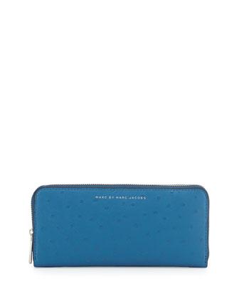 Sophisticato Ostrich-Print Slim Zip Wallet, Bluestone