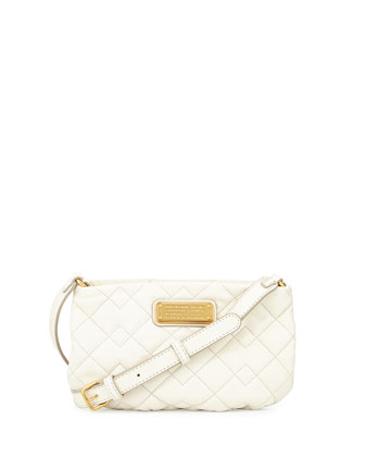 New Q Quilted Percy Crossbody Bag, Leche