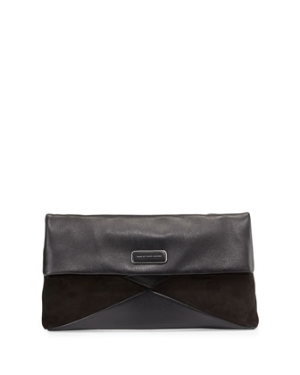 Leather and Suede Flap Clutch, Black