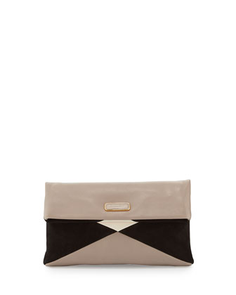 Hvac Colorblocked Clutch Bag, Taupe/Gray/Multi