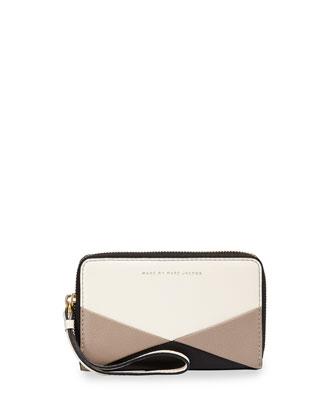 Sophisticato Colorblock Wingman Wristlet Wallet, Leche/Multi