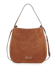 Ligero Sporty Suede Hobo Bag, Cinnamon Stick