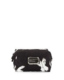 Pretty Nylon Painted Flower Cosmetics Bag, Black/White