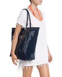 Summershine Faux-Patent Leather Tote Bag, Indigo