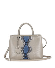 2Jours Petite Python Tote Bag, Natural Blue