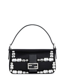 Baguette Satin Crystal-Frame Shoulder Bag, Black