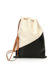 Bicolor Leather Laundry Bag, White/Black