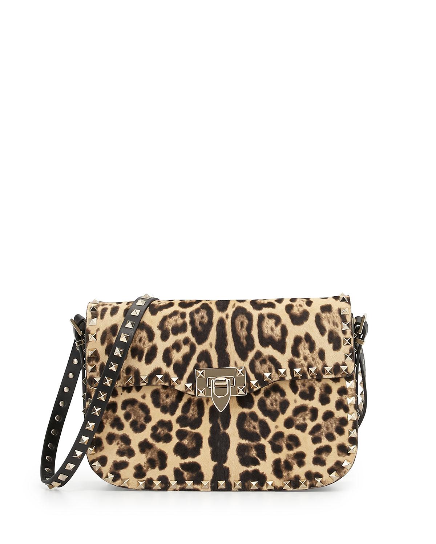 Valentino Leopard-Print Calf Hair Flap Bag, Leopard