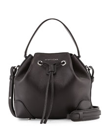 Lucrezia Waxy Leather Bucket Bag, Black