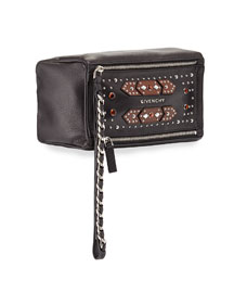 Pandora Calfskin Embellished Wristlet, Black/Brown