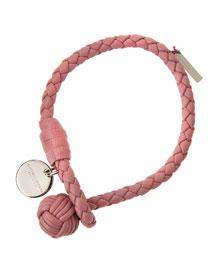 Intrecciato Single Knot Leather Bracelet, Pink