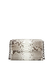 Python/Crocodile Small Double-Chain Shoulder Bag, Natural/Brown