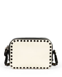 Rockstud Bicolor Camera Crossbody Bag, Black/Ivory