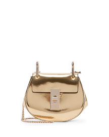 Drew Nano Mirror Leather Saddle Bag, Gold