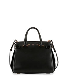 Boulevard 28 Crocodile/Leather Tote Bag, Black