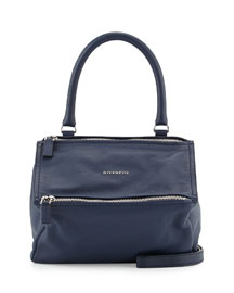 Pandora Sugar Small Leather Satchel Bag, Deep Blue