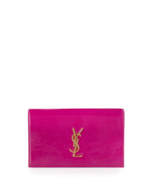 Monogram Leather Clutch Bag, Electric Pink