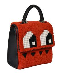 Mini Alex Eyes Shoulder Bag, Red Merino/Black