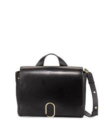 Alix Leather Messenger Bag, Black