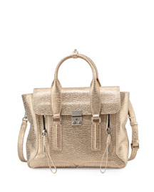 Pashli Medium Satchel Bag, Nude/Platinum