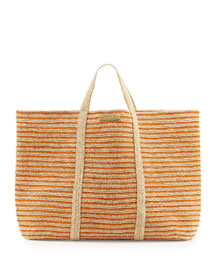 Woven Striped Beach Tote Bag, Orange