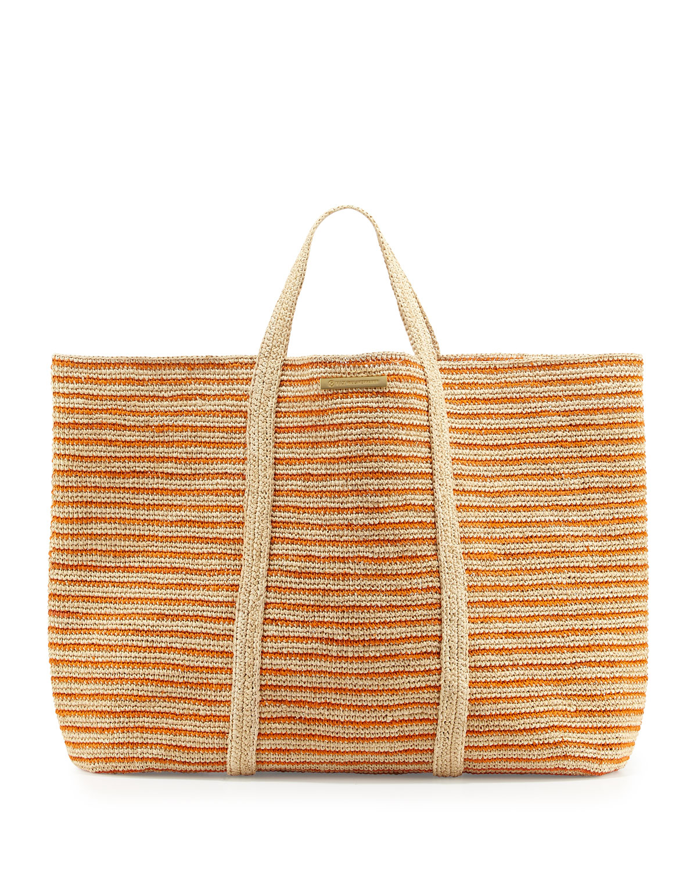 Vix Woven Striped Beach Tote Bag, Orange