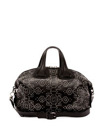 Nightingale Studded Carpet-Pattern Satchel Bag, Black