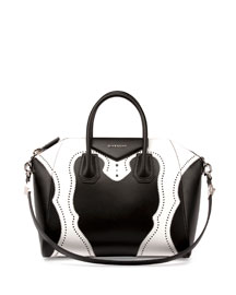 Antigona Brogue Satchel Bag, Black/White