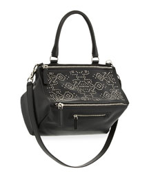 Pandora Carpet-Pattern Studded Shoulder Bag, Black