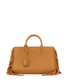 Rive Gauche Small Fringe Leather Tote Bag, Tan