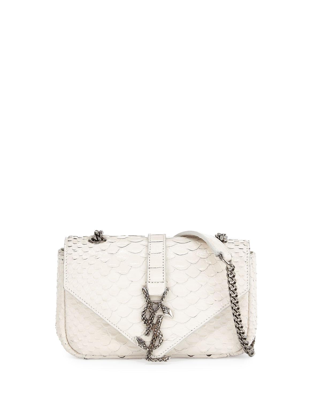Saint Laurent Monogram Baby Chain Python Crossbody Bag, White/Black