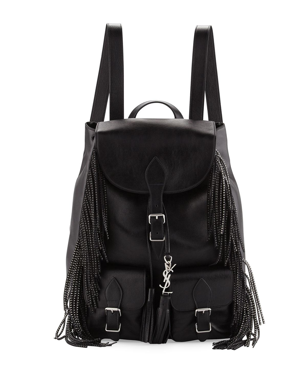 Saint Laurent Vitello Calfskin Studded Fringe Backpack, Black