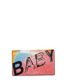 Monogram Small Baby Leather Clutch Bag, Rosa/Multi