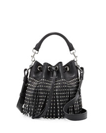 Emmanuel Small Studded Fringe Bucket Bag, Black