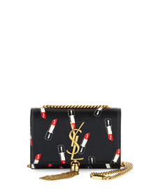 Monogram Small Lipstick-Print Crossbody Bag, Black