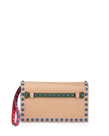 Rockstud 4-Color Small Flap Clutch Bag, Beige/Blue/Pink/Green