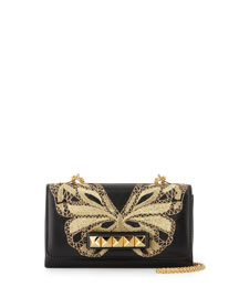 Va Va Voom Butterfly Shoulder Bag, Black/Gold
