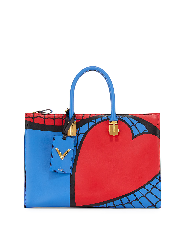 Valentino Superhero Spiderman Tote Bag, Red/Blue