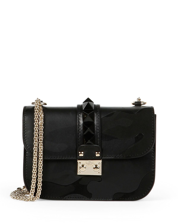 Valentino Lock Camo-Embossed Small Shoulder Bag, Black, Size: S
