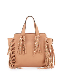 C-Rockee Studded Fringe Micro Shopper Tote Bag, Taupe