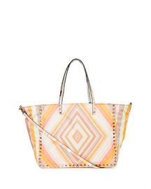 Rockstud 1975 Reversible Nylon Tote Bag, Orange Multi/Green Multi