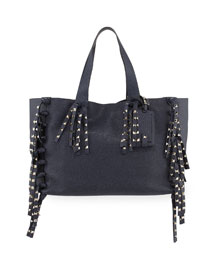 C-Rockee Studded Fringe Leather Tote Bag, Denim Blue