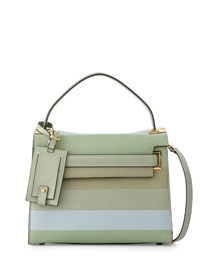 My Rockstud Striped Satchel Bag, Green Multi