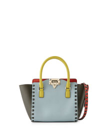 Rockstud Four-Color Micro Mini Shopper Bag, Blue/Yellow/Orange/Green