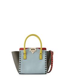 Rockstud Four-Color Micro Mini Shopper Bag, Blue/Yellow/Orange/Green