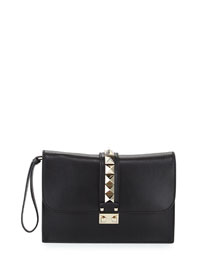 Lock Grained Large Wristlet Clutch Bag, Black