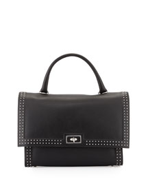 Shark Medium Stud Couture Shoulder Bag, Black