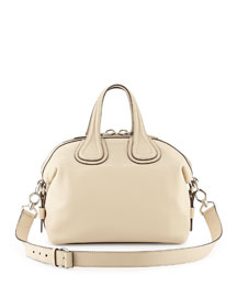 Nightingale Small Waxy Leather Satchel Bag, Beige