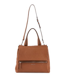 Pandora Pure Small Bicolor Satchel Bag, Black/Brown