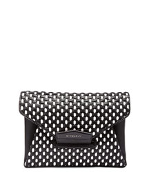 Antigona Medium Woven Clutch Bag, Black/White